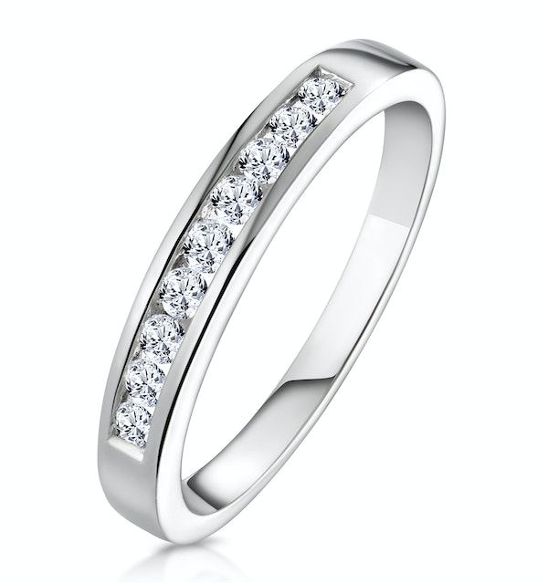 Rae Half Eternity Ring Channel Set 0.25CT Diamond 9K White Gold - image 1