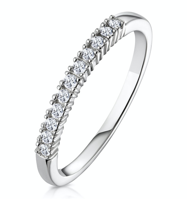 Half Eternity Ring 0.15CT Claw Set Diamond 9K White Gold - image 1