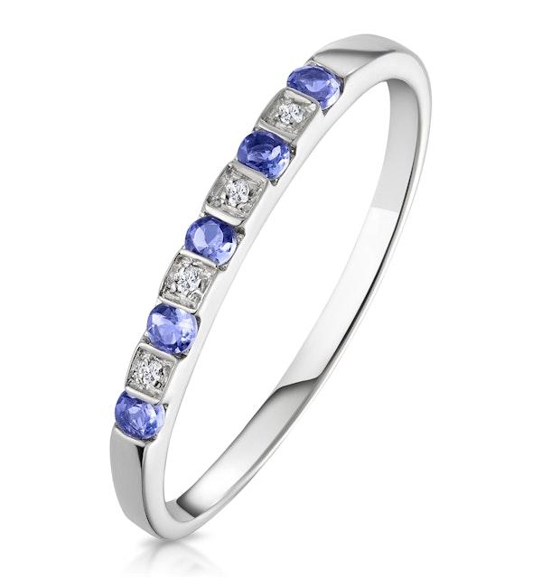 Tanzanite 0.18CT And Diamond 9K White Gold Ring - image 1