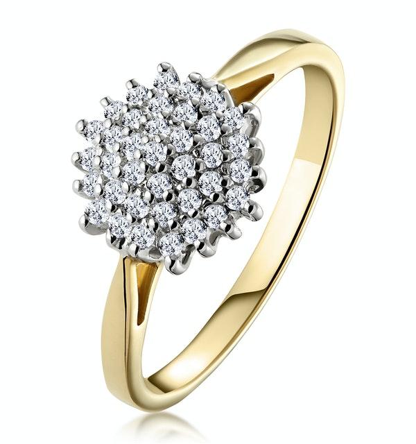 Cluster Ring 0.25ct Diamond 9K Yellow Gold - E5362 - image 1