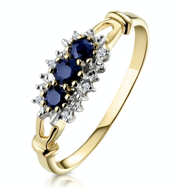 Sapphire 0.34ct And Diamond 9K Gold Ring - image 1
