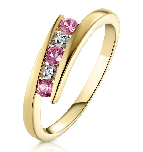 0.21ct Pink Sapphire and Diamond Ring 9K Yellow Gold - image 1