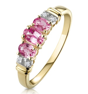 Pink Sapphire and 0.02ct Diamond Ring 9K Yellow Gold