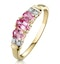 Pink Sapphire and 0.02ct Diamond Ring 9K Yellow Gold - image 1
