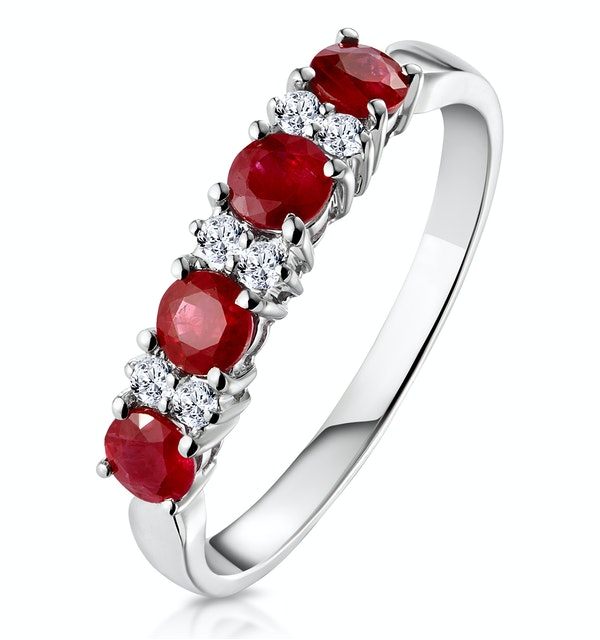 Ruby 0.66ct And Diamond 9K White Gold Ring - image 1