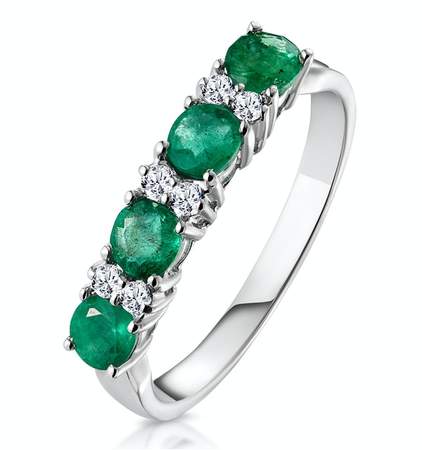 Emerald 0.49ct And Diamond 9K White Gold Ring - image 1