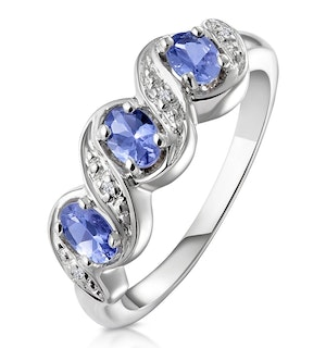 Tanzanite 0.50CT And Diamond 9K White Gold Ring