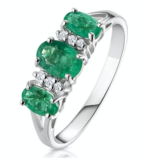 Emerald 1.06ct And Diamond 9K White Gold Ring