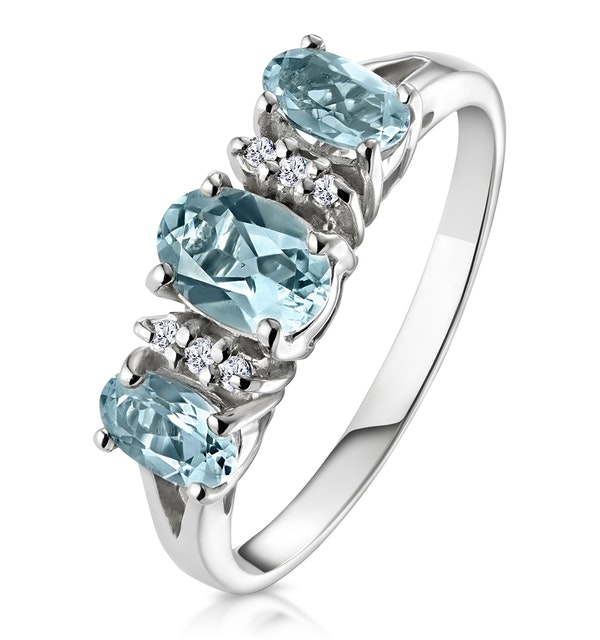 Aquamarine 0.80CT And Diamond 9K White Gold Ring - image 1