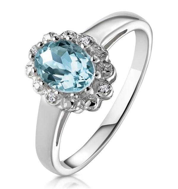 Aquamarine 0.70CT And Diamond 9K White Gold Ring - image 1