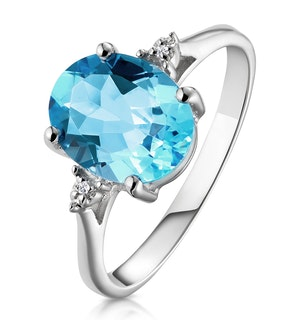 9K White Gold Diamond and 2.60ct Blue Topaz Ring