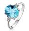 9K White Gold Diamond and 2.60ct Blue Topaz Ring - image 1