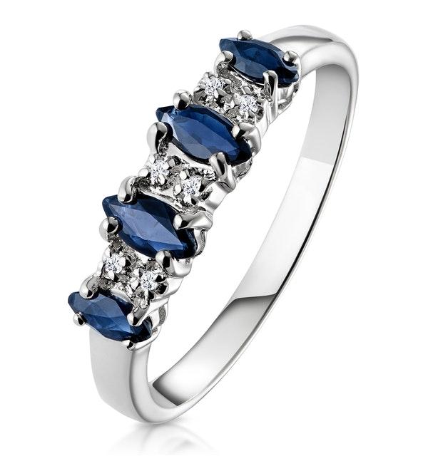 Sapphire 0.76ct And Diamond 9K White Gold Ring - image 1