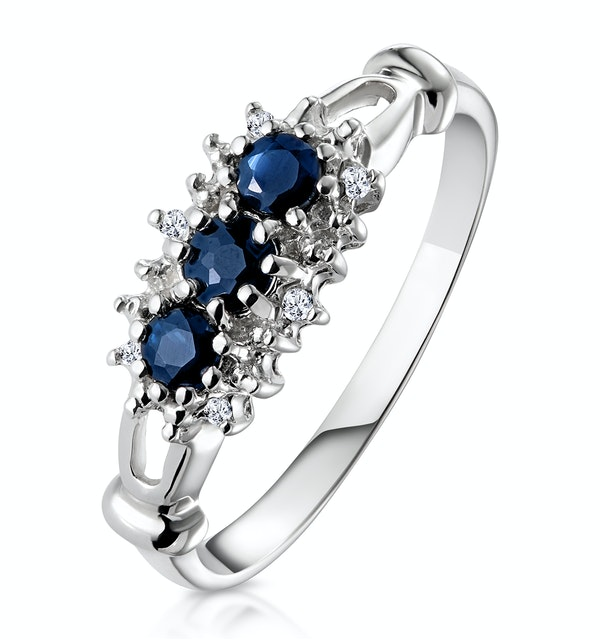 Sapphire 0.34ct And Diamond 9K White Gold Ring - image 1