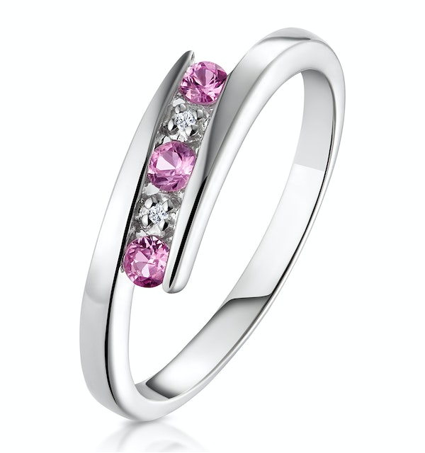 9K White Gold Diamond and Pink Sapphire Ring - image 1