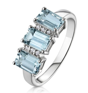 Aquamarine 1.65CT And Diamond 9K White Gold Ring