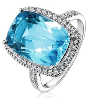 Blue Topaz 6.83CT And Diamond 9K White Gold Ring