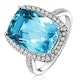 Blue Topaz 6.83CT And Diamond 9K White Gold Ring - image 1