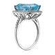 Blue Topaz 6.83CT And Diamond 9K White Gold Ring - image 3