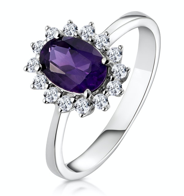 Amethyst 0.70ct And Diamond 9K White Gold Ring - image 1