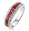 Ruby 0.74ct and Diamond 9K White Gold Ring - image 1