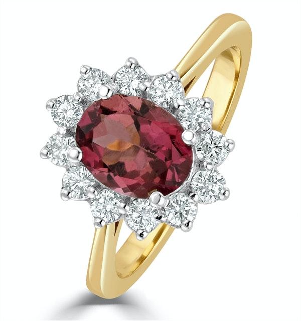 Pink Tourmaline 1.15CT and Diamond 18K Gold Ring - FET26 - image 1