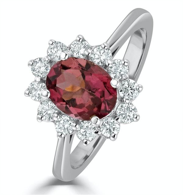 Pink Tourmaline 1.15CT and Diamond Ring 18K White Gold - FET26 - image 1