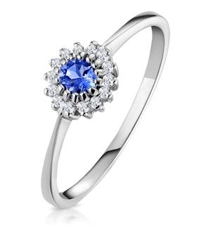 Tanzanite 3.5 x 3.5mm And Diamond 18K White Gold Ring