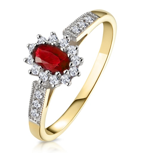 Ruby 5 x 3mm And Diamond 9K Gold Ring  A3351 - image 1