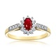 Ruby 5 x 3mm And Diamond 9K Gold Ring  A3351 - image 2