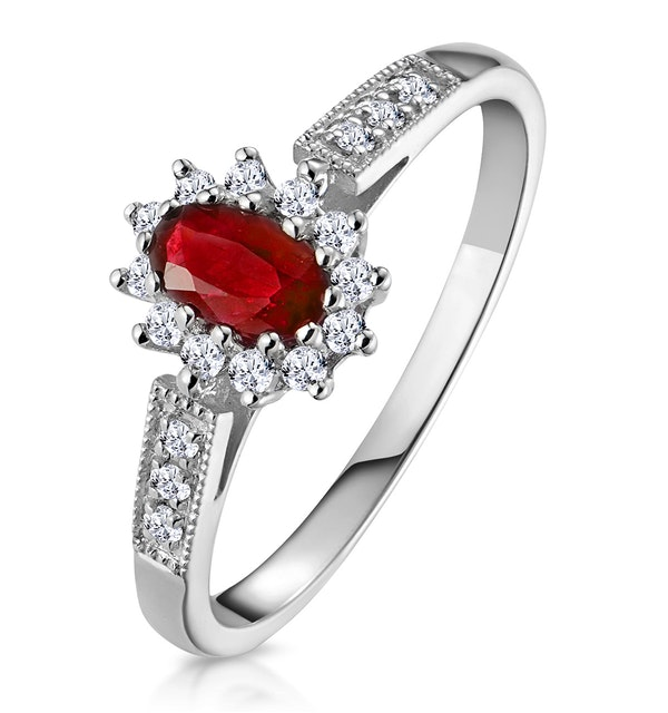 Ruby 5 x 3mm And Diamond 18K White Gold Ring - image 1