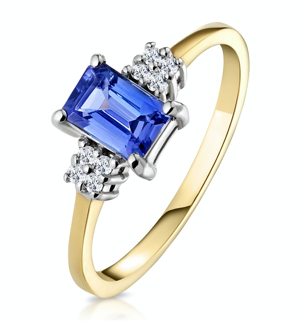 Tanzanite 6 x 4mm And Diamond 18K Gold Ring  FET37-V - image 1