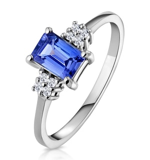 Tanzanite 6 x 4mm And Diamond 18K White Gold Ring  FET37-VY