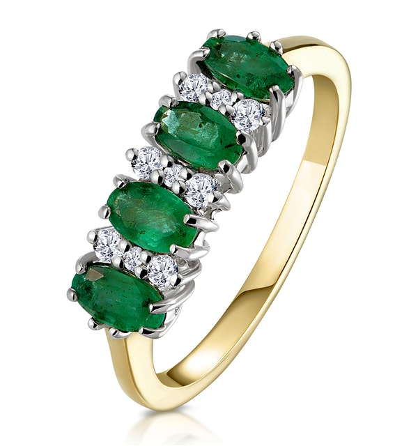 Emerald 0.94ct And Diamond 9K Gold Ring - image 1