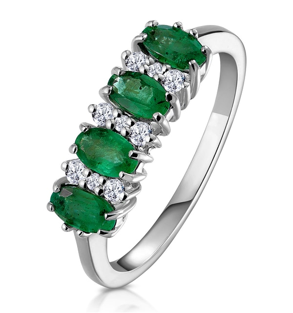 Emerald 0.94ct And Diamond 9K White Gold Ring - image 1
