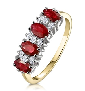 Ruby 1.12ct And Diamond 9K Gold Ring
