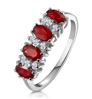 Ruby 1.12ct And Diamond 18K White Gold Ring