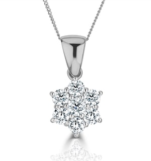 18K White Gold Diamond Cluster Pendant1.00CT H/SI