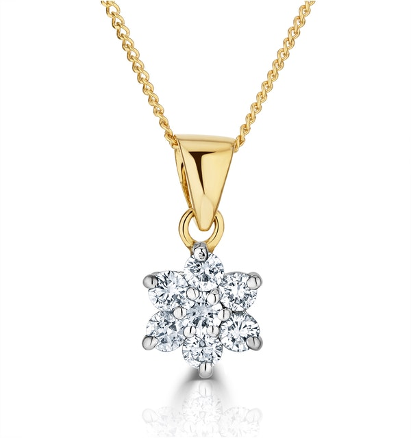 18K Gold Diamond Cluster Pendant Necklace 0.25CT H/SI - image 1