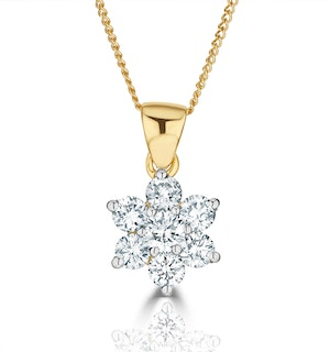 18K Gold Diamond Cluster Pendant Necklace 0.50CT H/SI