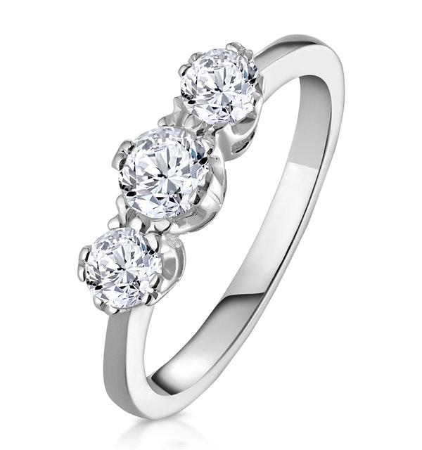 Emily 18K White Gold 3 Stone Diamond Ring 0.75CT G/VS - image 1