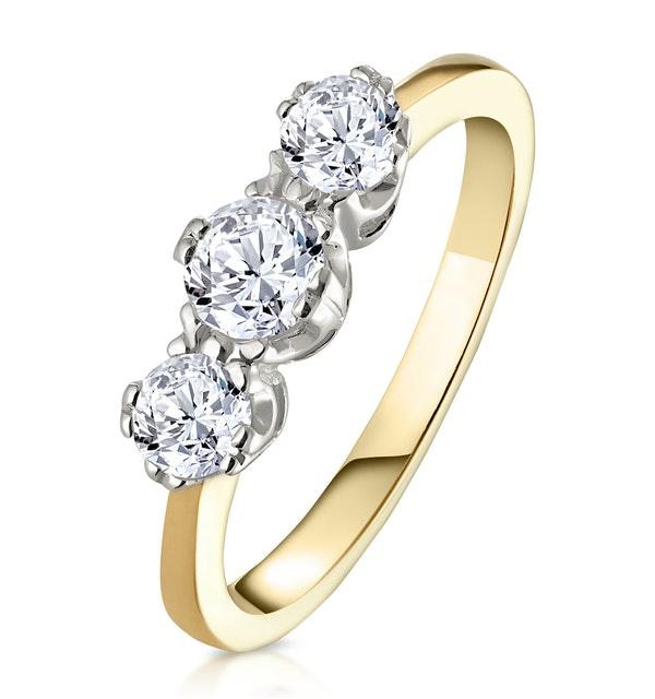 Emily 18K Gold 3 Stone Diamond Ring 0.75CT G/VS - image 1