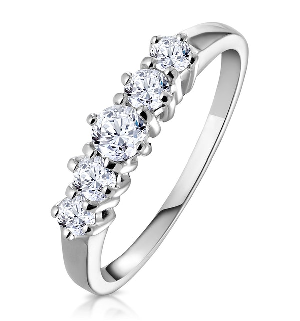 Ellie 18K White Gold 5 Stone Diamond Eternity Ring 0.50CT - image 1