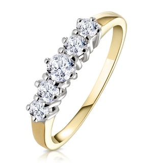 Ellie 18K Gold 5 Stone Diamond Eternity Ring 0.50CT G/VS