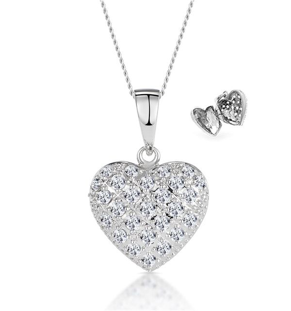 Diamond 0.47ct Heart Pendant Necklace 9K White Gold - image 1