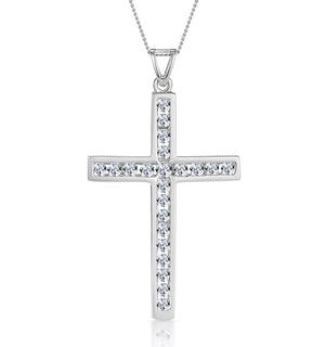 Cross Pendant 1.00CT Diamond 9K White Gold