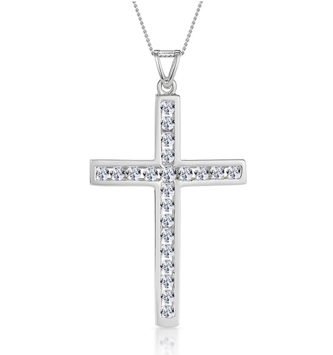 Cross Pendant 1.00CT Diamond 9K White Gold - image 1