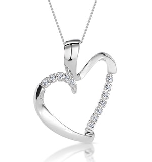 Heart Pendant 0.15ct Diamond 9K White Gold