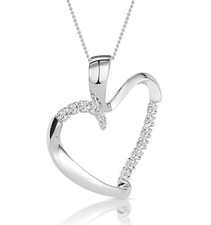 Heart Pendant Necklace 0.15ct Diamond 9K White Gold