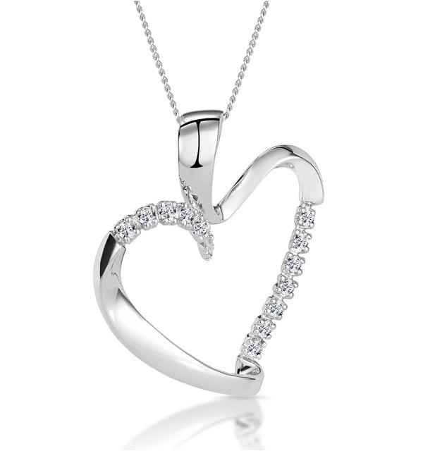 Heart Pendant 0.15ct Diamond 9K White Gold - image 1